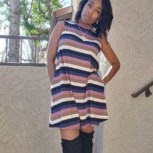 Sleeveless Stripe Shift Dress with Pockets